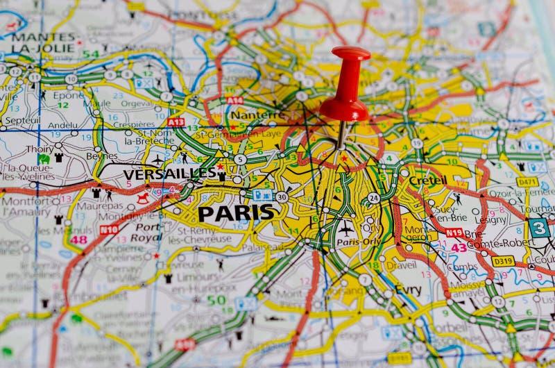 Parijs op kaart royalty-vrije stock afbeelding