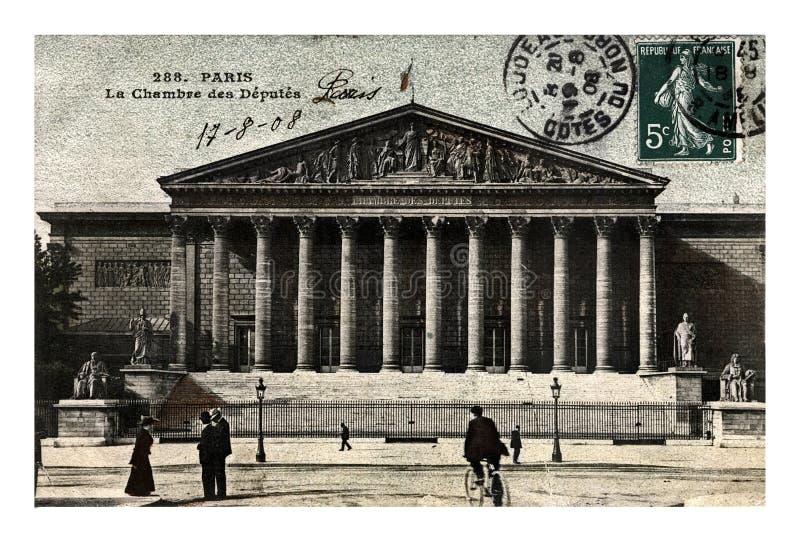 Parijs, Palais Bourbon voor de Nationale assemblee van het Franse Parlement, Frankrijk, circa 1908, royalty-vrije stock afbeelding