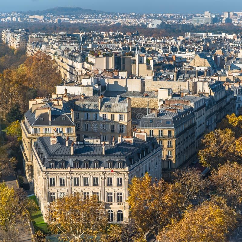 Parijs, panorama van Arc de Triomphe stock afbeeldingen