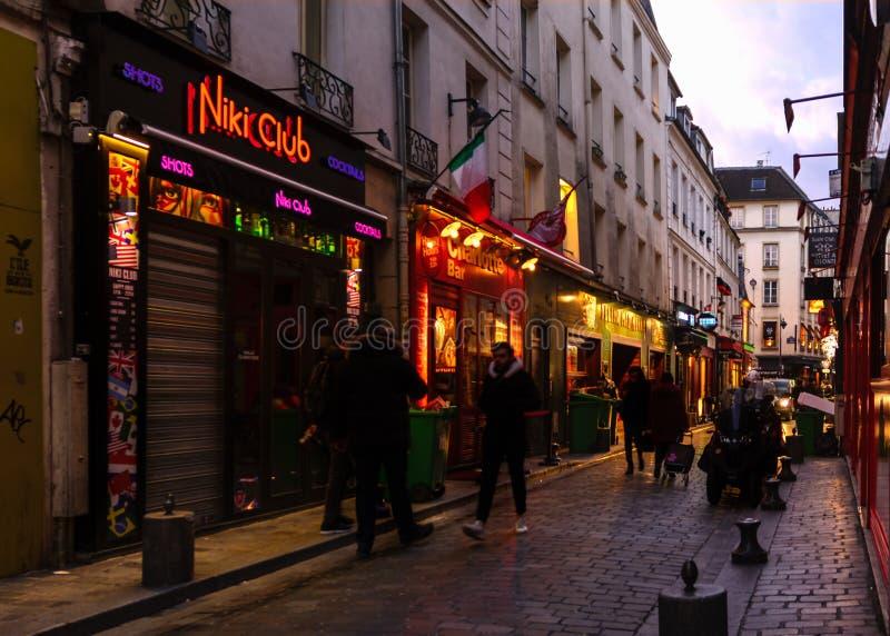 Parijs - Rue de Lappe stock afbeelding