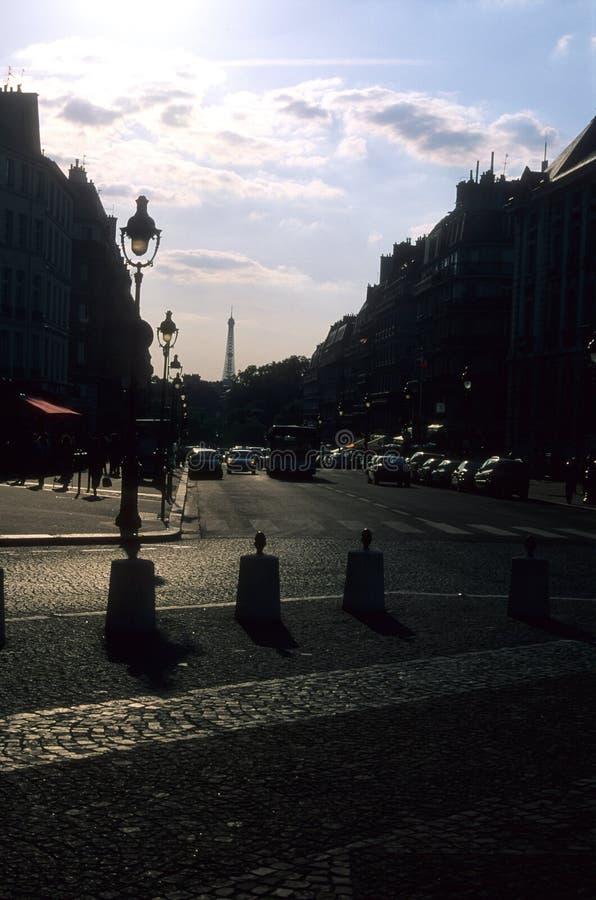 Parijs sillhouetes stock afbeelding