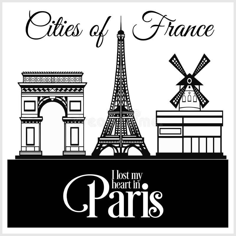 Parijs - Stad in Frankrijk Gedetailleerde architectuur In vectorillustratie royalty-vrije illustratie