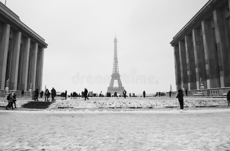 Parijs, Trocadero-plaats onder sneeuw royalty-vrije stock foto