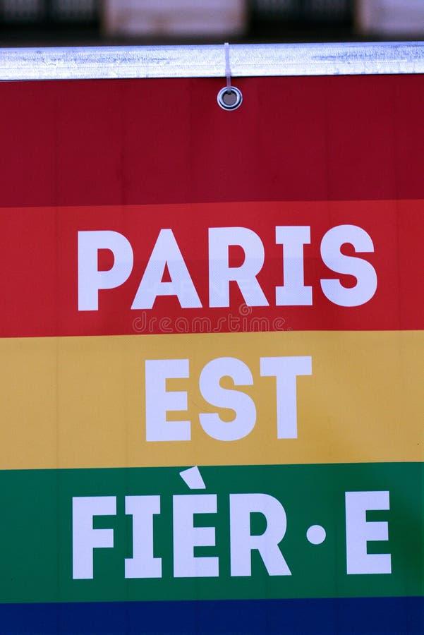 Parijs is trotse Vrolijke de Trotsparade maart Juni Frankrijk van LGBT royalty-vrije stock foto