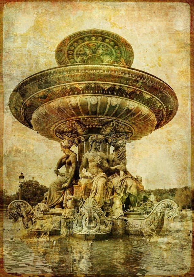 Parijse fontein stock illustratie