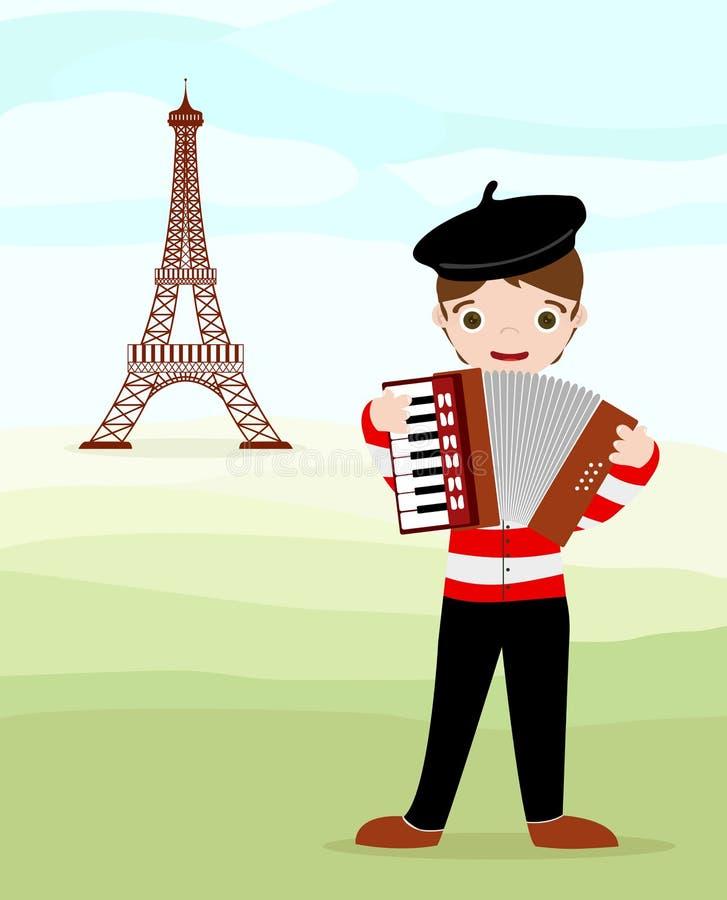 Parijzenaar en reis Eiffel royalty-vrije illustratie