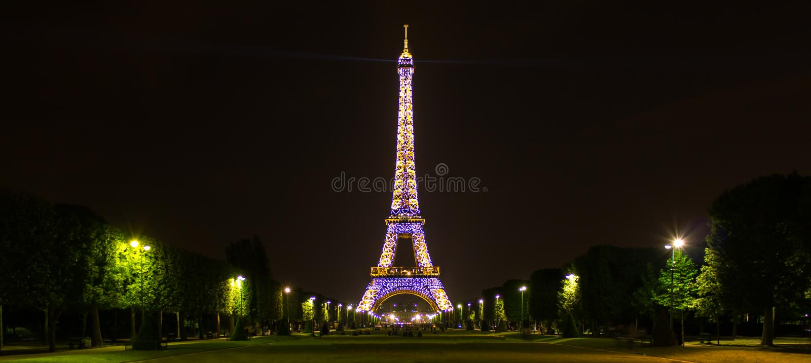 Paris, Île-de-France / France - May 2, 2011: A night long exposure of the Sparkling Eiffel Tower stock image