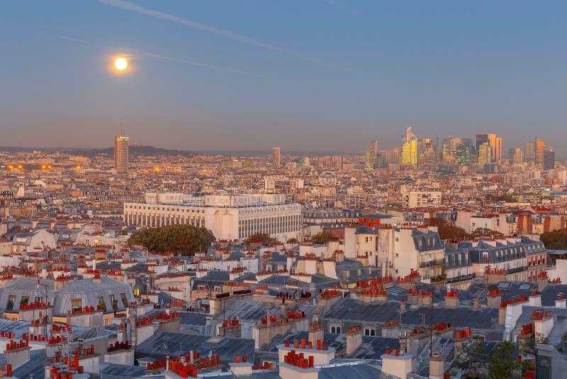 paris Вид с воздуха города на зоре стоковые фото