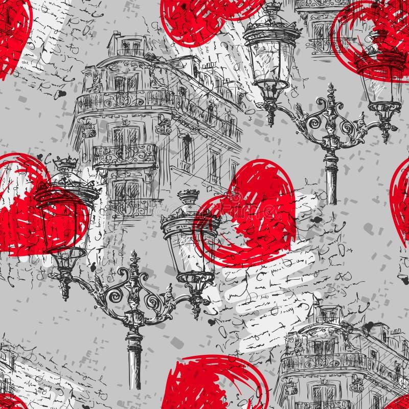 paris сделайте по образцу безшовный сбор винограда бесплатная иллюстрация