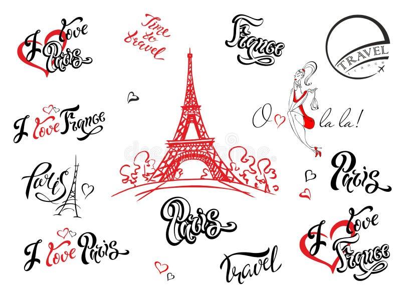 paris Франция комплект мамы рамок элементов конструкции собрания Эскиз Эйфелевой башни Воодушевляя литерность Шаблоны ярлыка Моде бесплатная иллюстрация