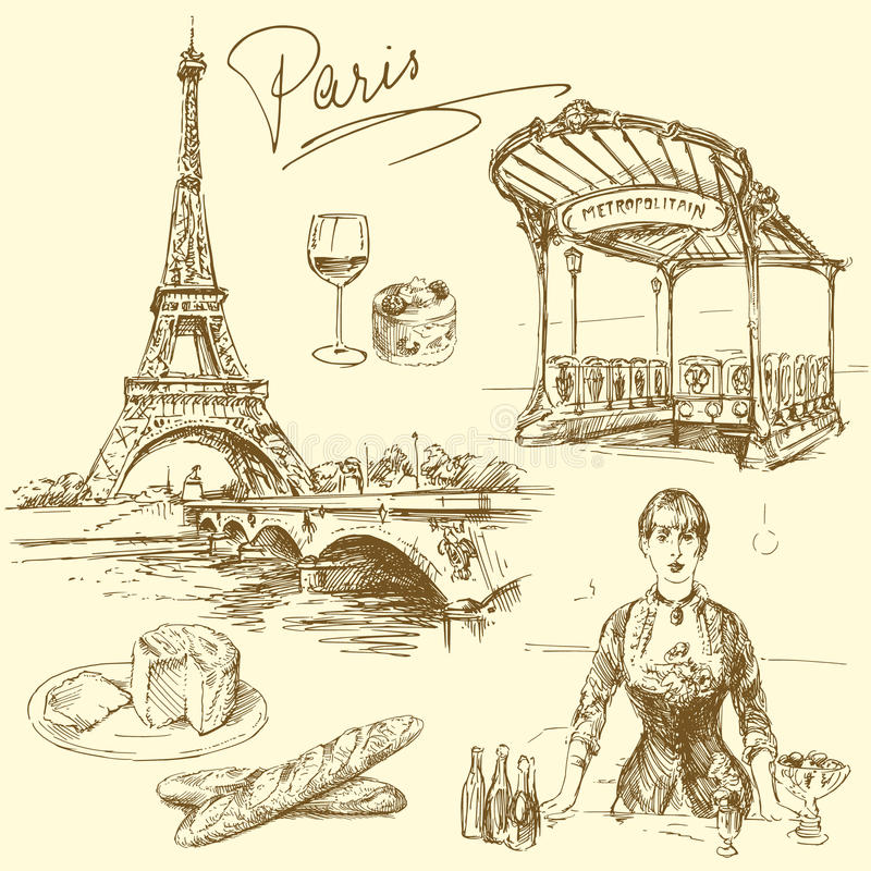paris royaltyfri illustrationer