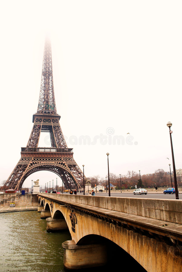 Paris #36. The Eiffel tower in Paris, France - Across from the River Seine - High Key stock photos