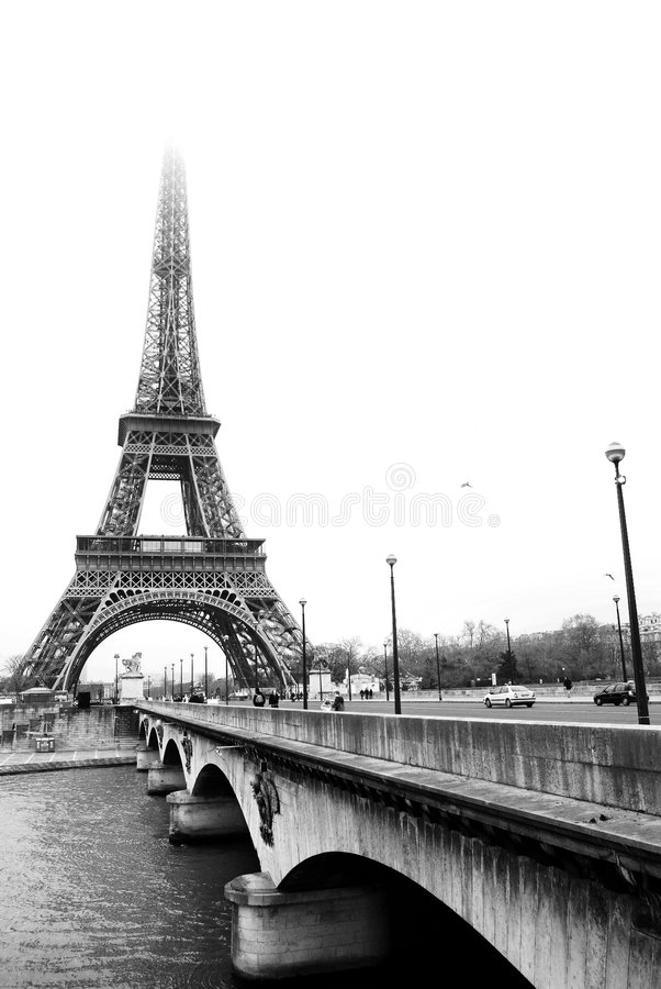 Paris #37. The Eiffel Tower in Paris, France.Black and white, Copy space