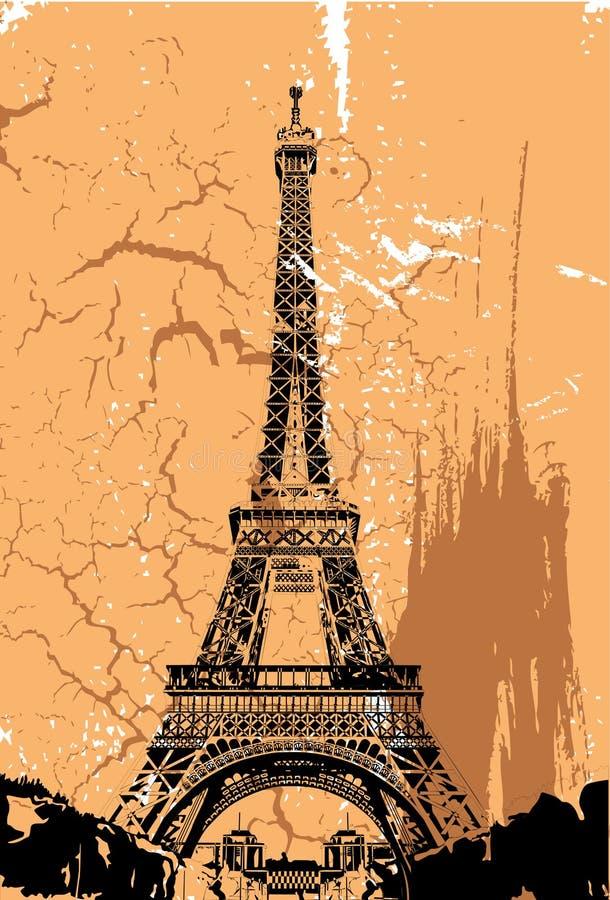 Paris. Eiffel, grungy, illustration, vector