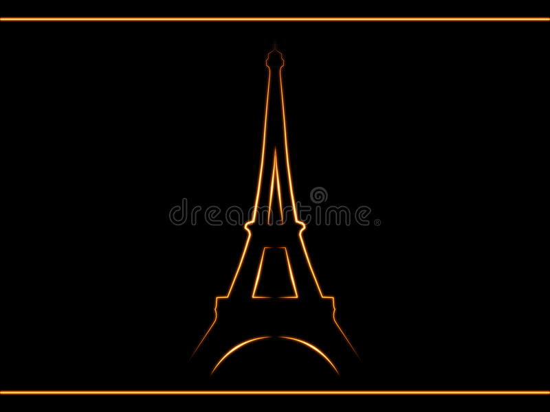 Paris. Silhouette of the Eiffel Tower on a black background stock illustration