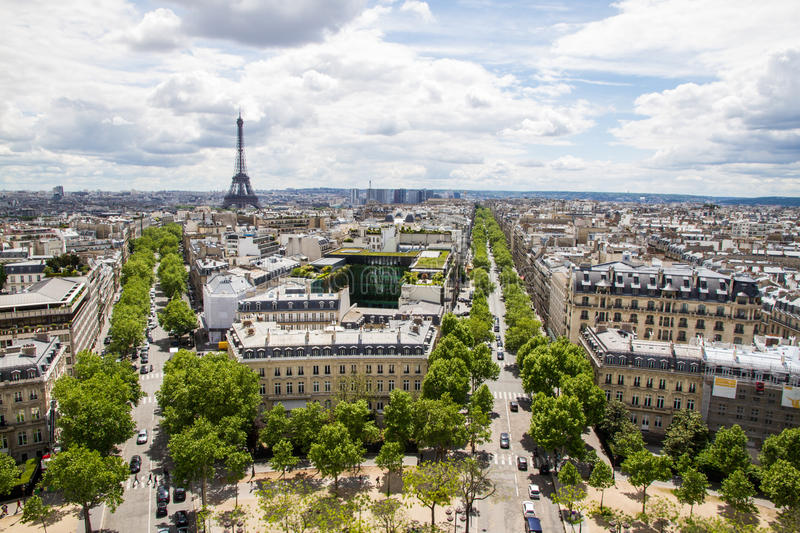 Paris Aerial With Eiffel Tower Stock Photo - Image of park ...