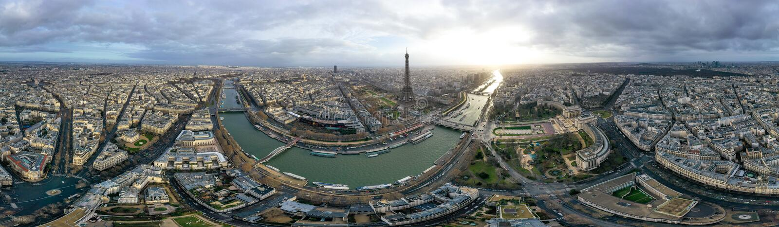 Paris Aerial 360 Panoramic Cityscape View in France royalty free stock photography