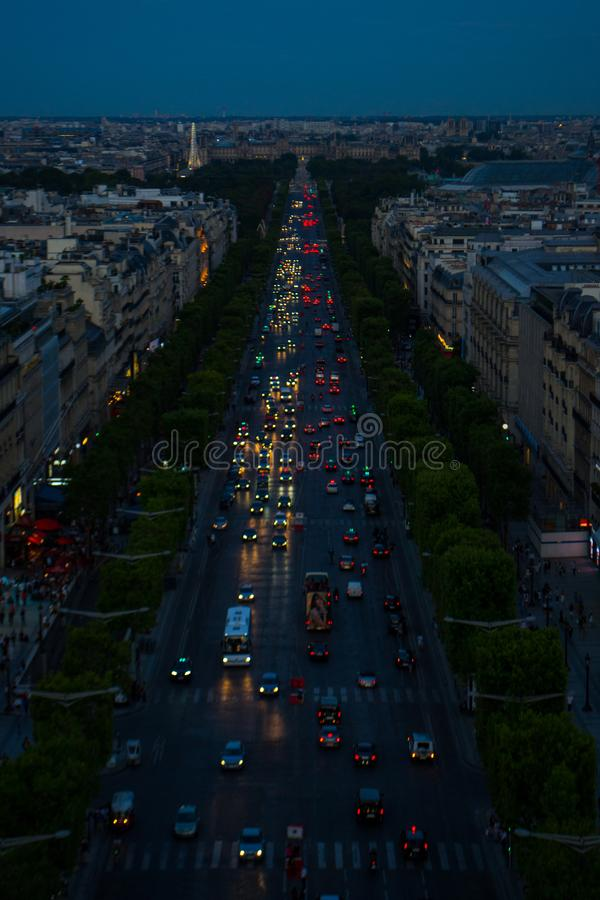 Paris aerial view at night royalty free stock photography