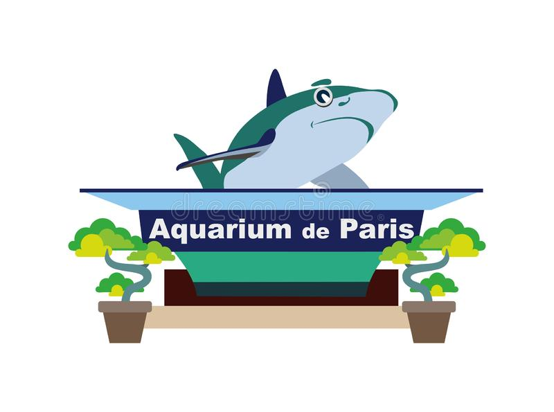 Paris akvarium europeisk landmark vektor illustrationer
