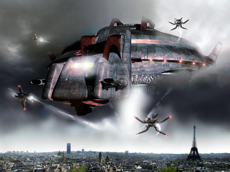 Paris alien invasion. A giant alien spaceship over Paris. Several little spaceships come out from big one, and begin to invade the city royalty free illustration