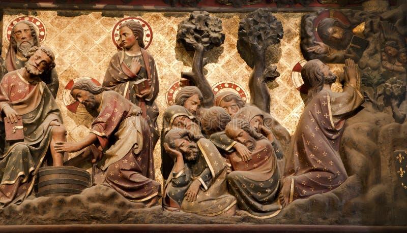 Paris - allégement - cathédrale de Notre Dame photographie stock