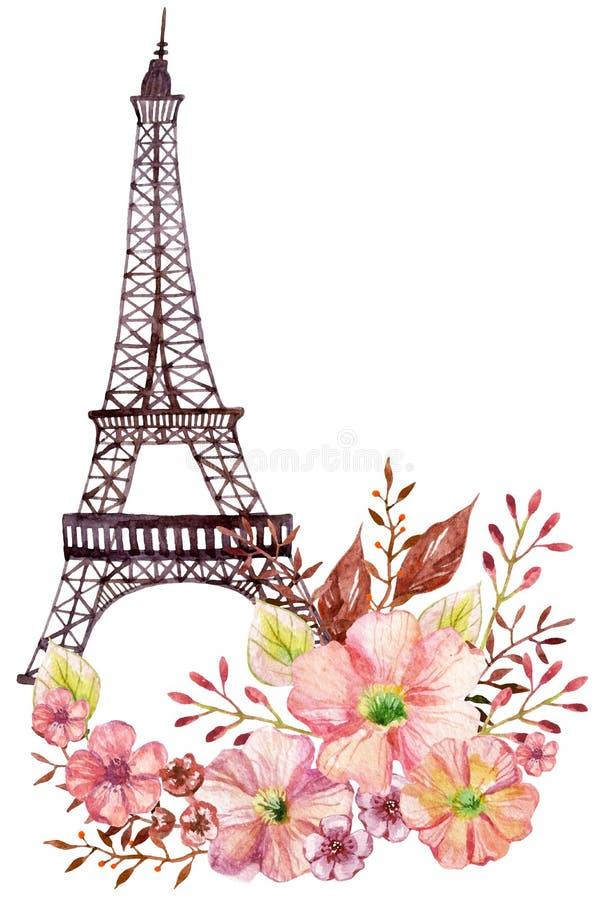 Paris-Aquarellillustration stock abbildung