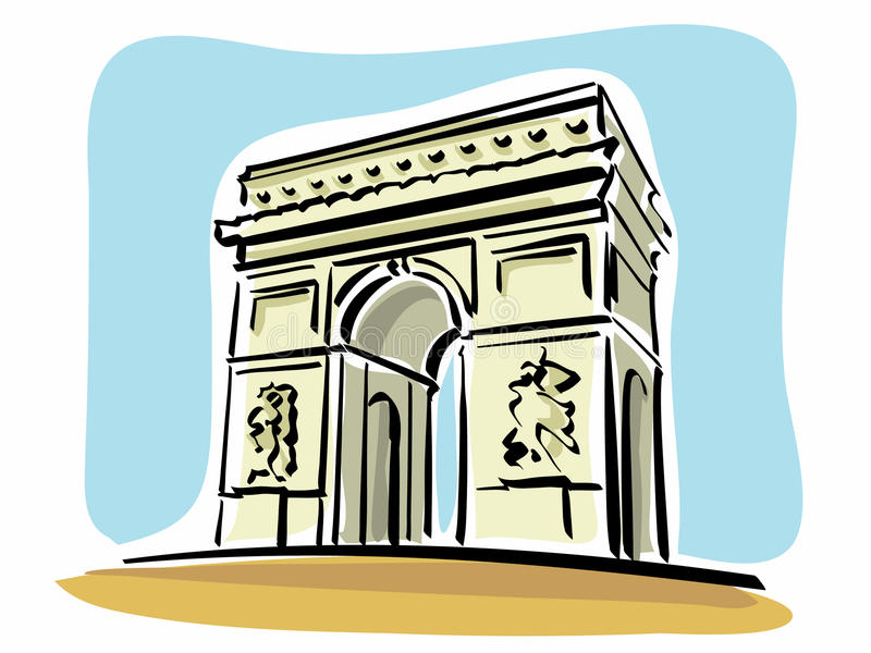Paris (Arc de Triomphe). Illustration of the Arc de Triomphe in Paris vector illustration