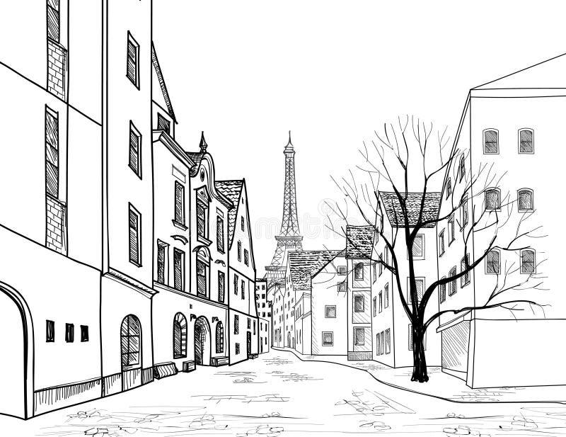 Paris au crépuscule Paysage urbain - maisons, bâtiments et arbre sur l'allée illustration stock