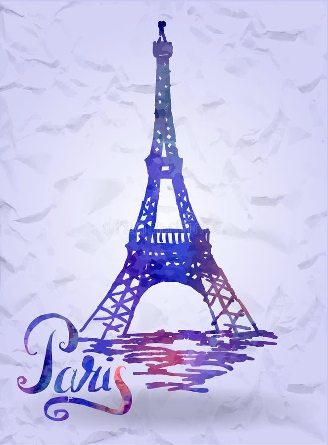 Paris-Aufkleber mit Hand gezeichnetem Eiffelturm mit der Aquarellfülle, Paris beschriftend lizenzfreie stockfotografie