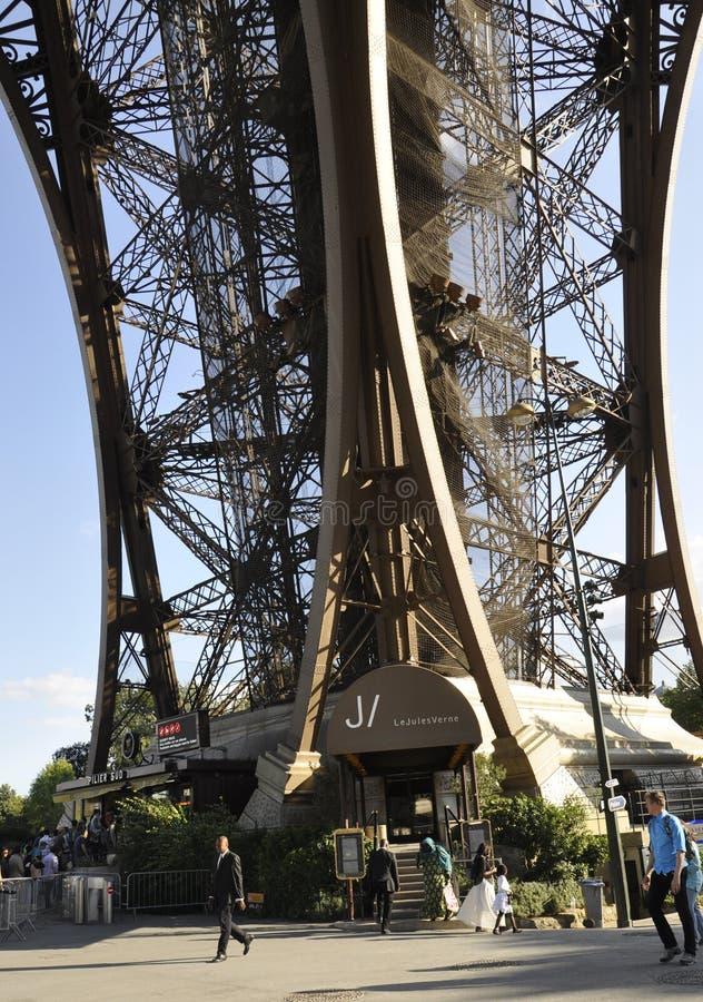 Paris,august 20-Pier of Eiffel Tower in Paris royalty free stock image