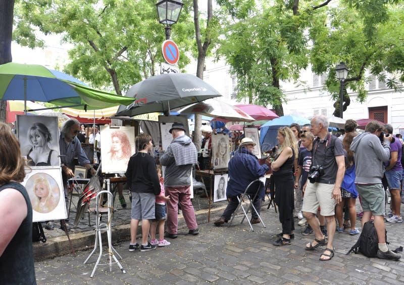 Paris,august 19,2013-Art Market Place du Tertre in Montmartre in Paris royalty free stock photography
