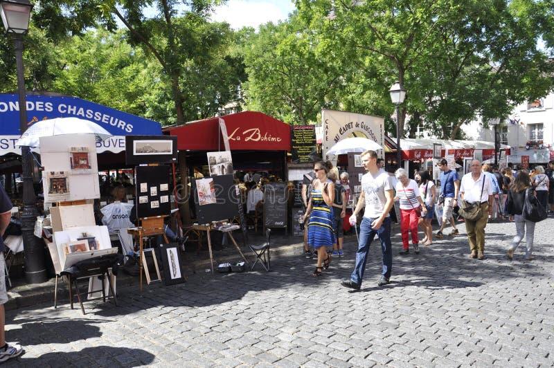 Paris,august 19,2013-Art Market Place du Tertre in Montmartre in Paris royalty free stock photos