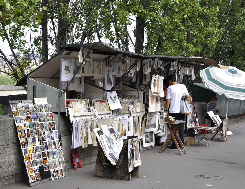 Paris,august 16-Art Stand on the Bank of Seine in Paris stock image