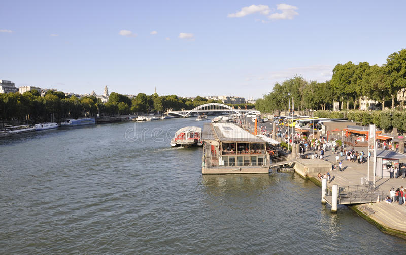 Paris,august 19,2013-View of Seine river in Paris royalty free stock photography