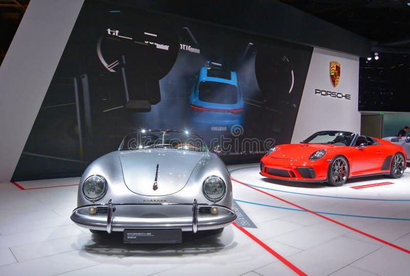 Paris-Autoausstellung 2018 - Speedster Concept Porsches 911 stockfotos