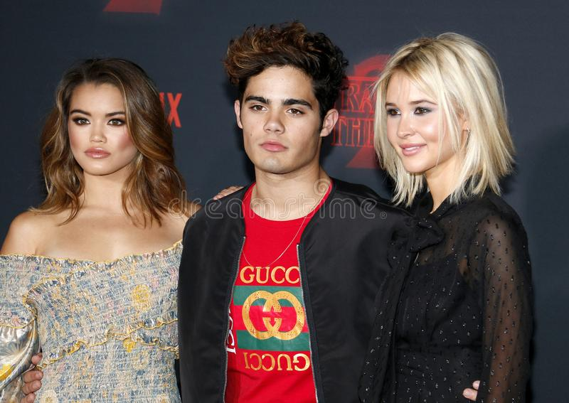 Paris Berelc, Emery Kelly and Isabel May. At the Netflix`s season 2 premiere of `Stranger Things` held at the Regency Village Theatre in Westwood, USA on stock photography
