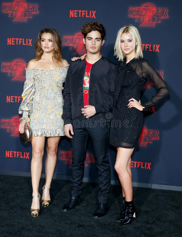 Paris Berelc, Emery Kelly and Isabel May. At the Netflix`s season 2 premiere of `Stranger Things` held at the Regency Village Theatre in Westwood, USA on royalty free stock photos