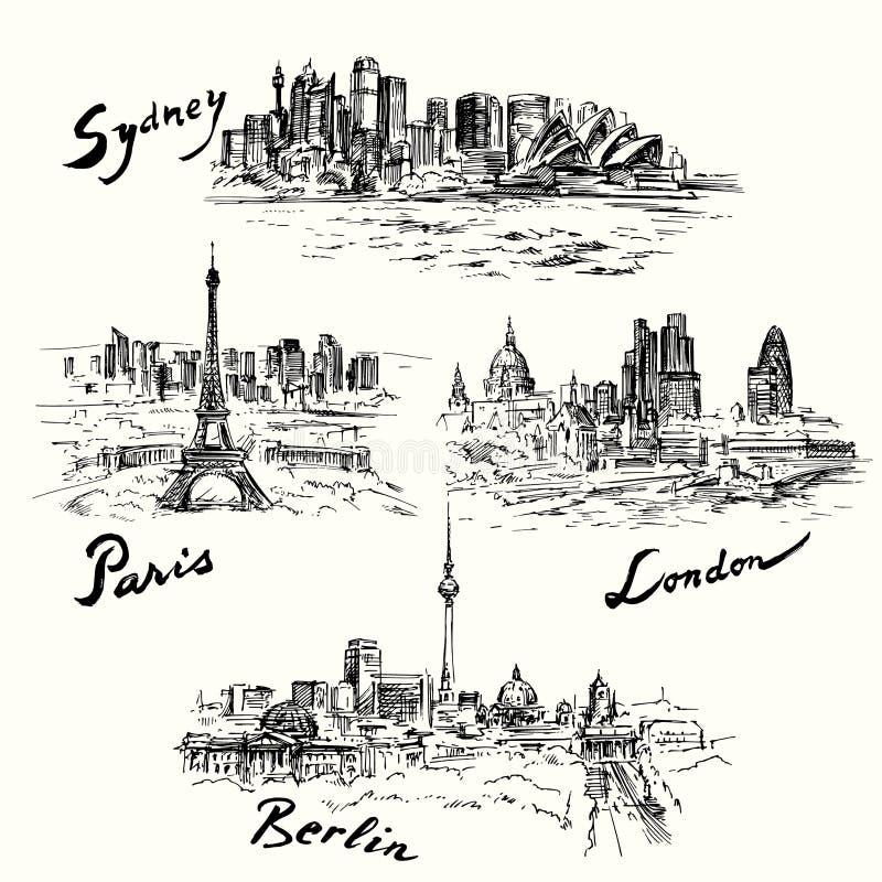 Paris, Berlin, London, Sydney. Hand drawn illustration vector illustration