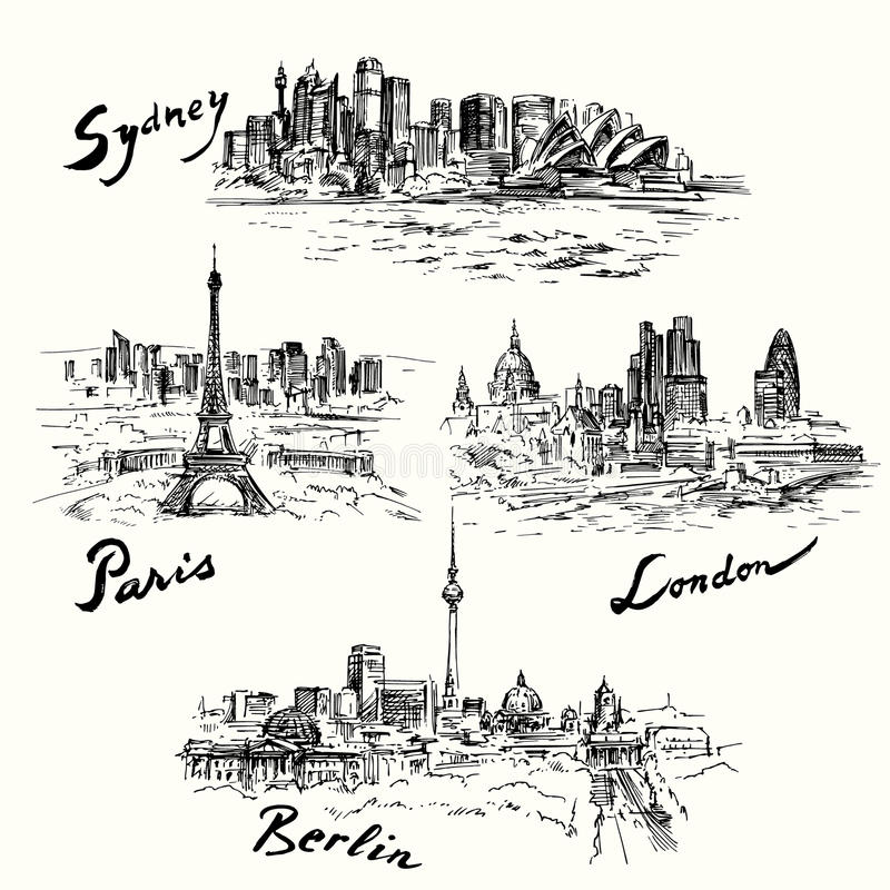 Paris, Berlin, Londres, Sydney illustration de vecteur