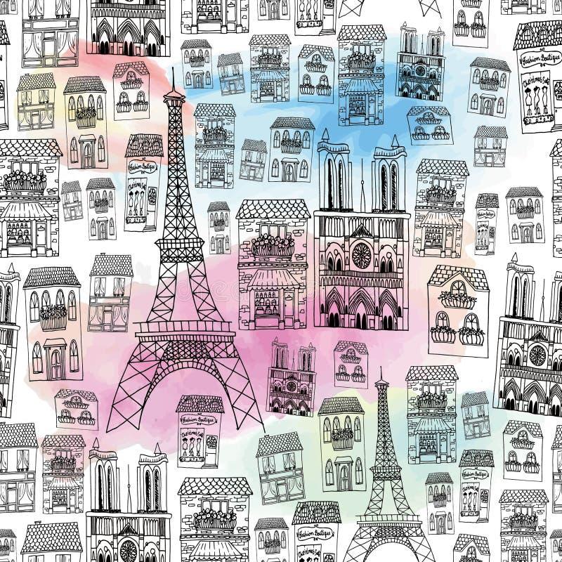 paris bezszwowy deseniowy ilustracji