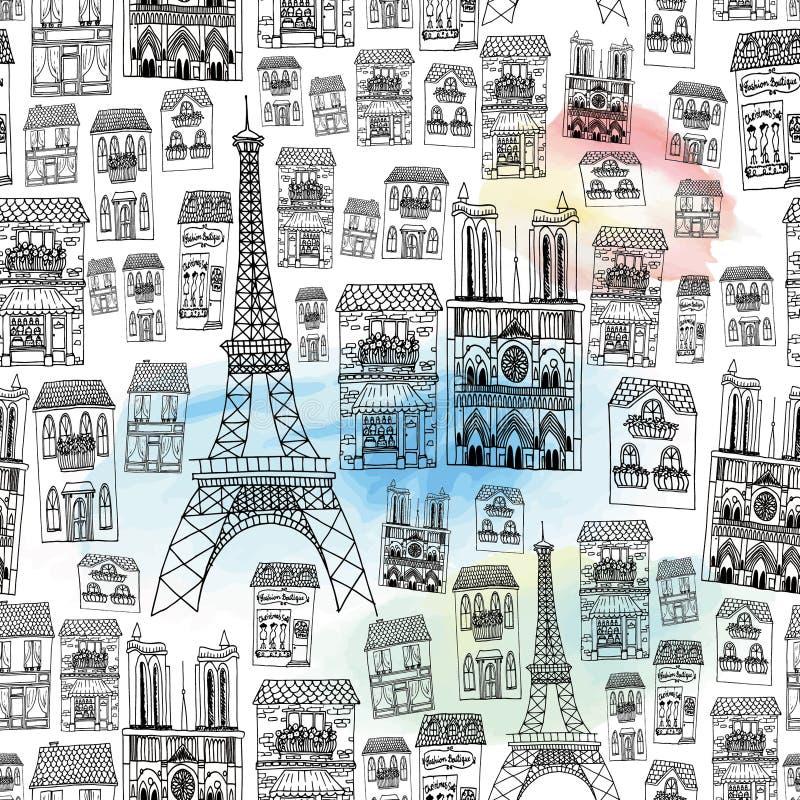 paris bezszwowy deseniowy royalty ilustracja
