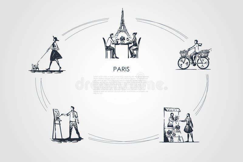 Paris - bicicleta de montada dos povos, café bebendo com toalha de Eiffel atrás, pintando, flores de compra, grupo de passeio do  ilustração stock