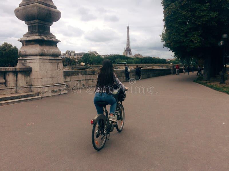 Paris bike ride stock photo