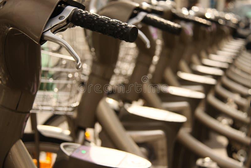 Paris Bikes. Line of bikes in Paris Abstract stock image