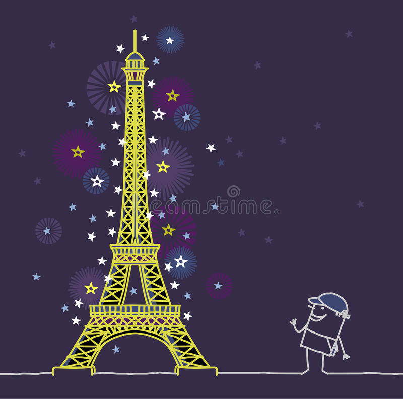Paris bis zum Nacht vektor abbildung