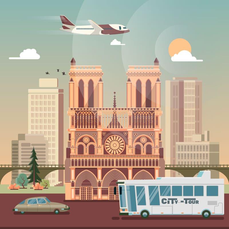 paris Biznesowej podróży i turystyki pojęcie z Historycznym budynkiem royalty ilustracja
