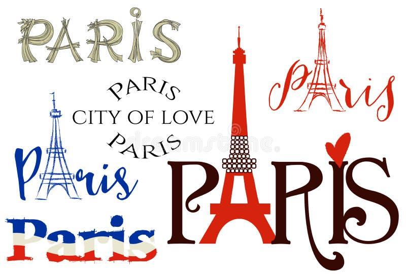 Paris bokstäveruppsättning stock illustrationer