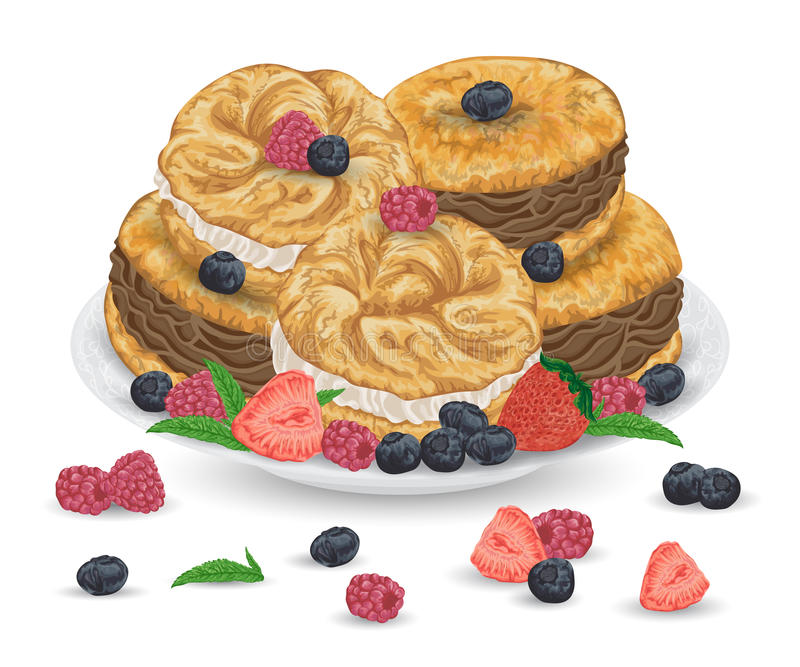 Paris brest cakes with praline and chocolate cream on plate with berries. French pastries with strawberry, raspberry, blueberry an stock illustration