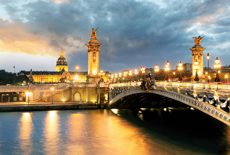 Paris bridge Alexandre 3, III and Seine river.  royalty free stock photography