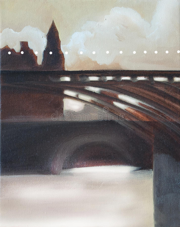 Paris bridge in morning light oil. Painting in brown colors and light earthy yellow stock illustration